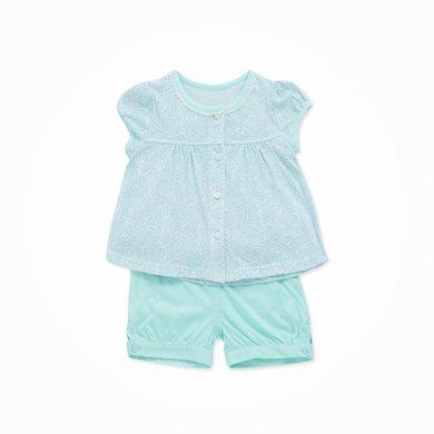 丑丑嬰幼 夏季新款女童上衣T恤套裝公主淑女可愛短袖純棉套裝