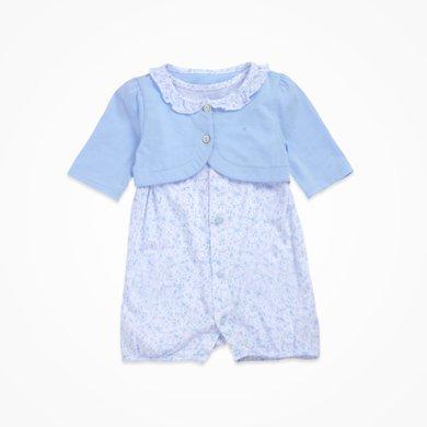 丑丑嬰幼 女寶寶純棉可愛哈衣兩件套夏季女童甜美哈衣、爬服、連體衣(2件套)