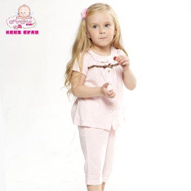 丑丑嬰幼  夏季新款 女寶寶純棉前開套裝6個月-2歲 WBE7506
