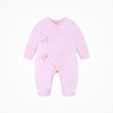 丑丑婴幼 新生儿绑带哈衣新款纯棉长袖哈衣、爬服、连体衣0-3个月 CND050X