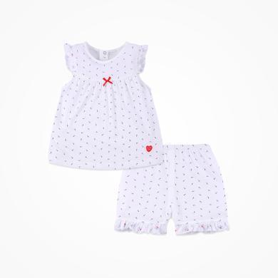 丑丑嬰幼 新款女寶寶小飛袖套裝女童休閑純棉褶皺花邊套裝CJD723X