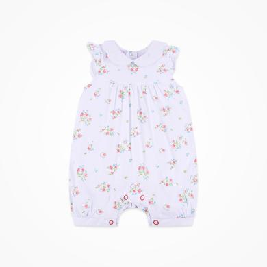 丑丑嬰幼 女童純棉前開可愛哈衣夏季女寶寶無袖碎花哈衣、爬服、連體衣 CHE050T
