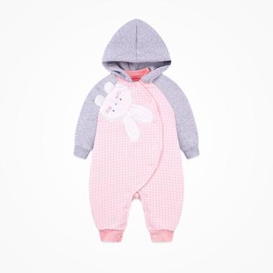 丑丑嬰幼 女寶寶可愛小兔夾棉哈衣秋季新款女童連帽哈衣、爬服、連體衣 COE070X