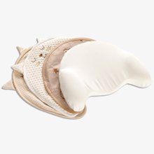 Marvelous kids有机棉空气层绣花猫咪月亮型新生儿宝宝防偏头定型枕